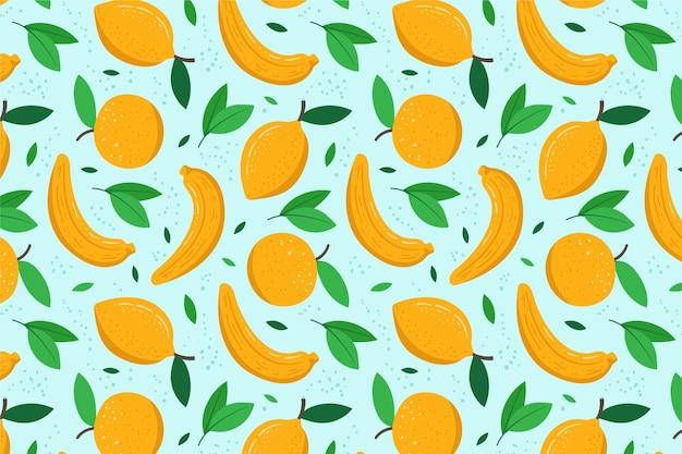 レモンとフルーツパターン