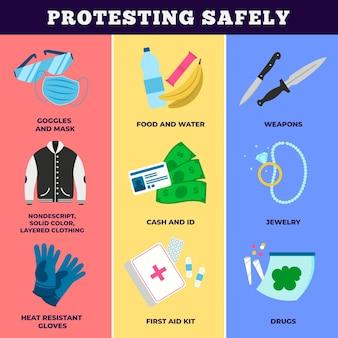 安全に抗議するインフォグラフィックテンプレート