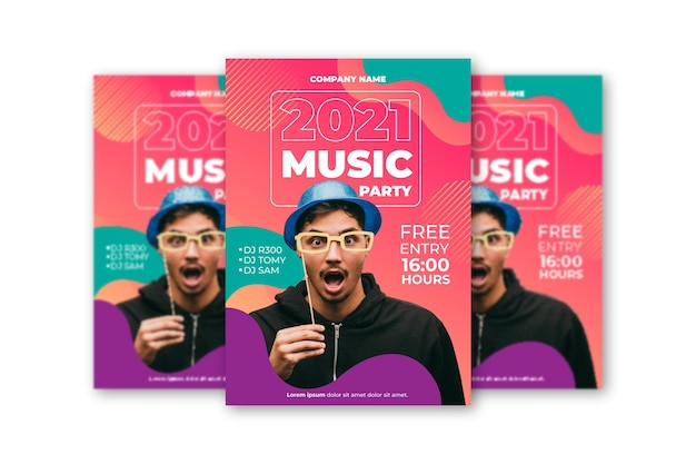 Шаблон постера музыкального события с фото