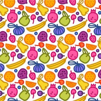 バナナとフルーツパターン