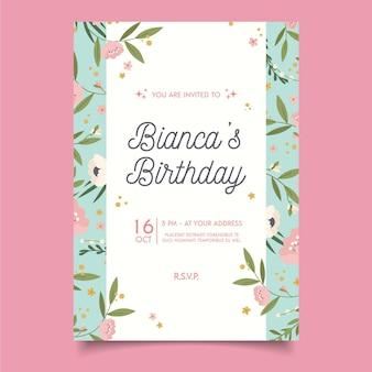 エキゾチックなかわいい花の誕生日の招待状のテンプレート