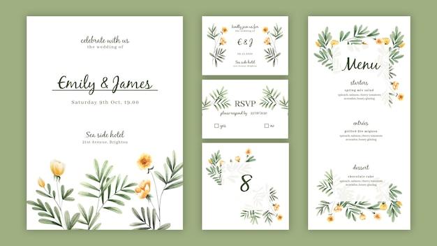 結婚式のための水彩画の花の招待パックテンプレート