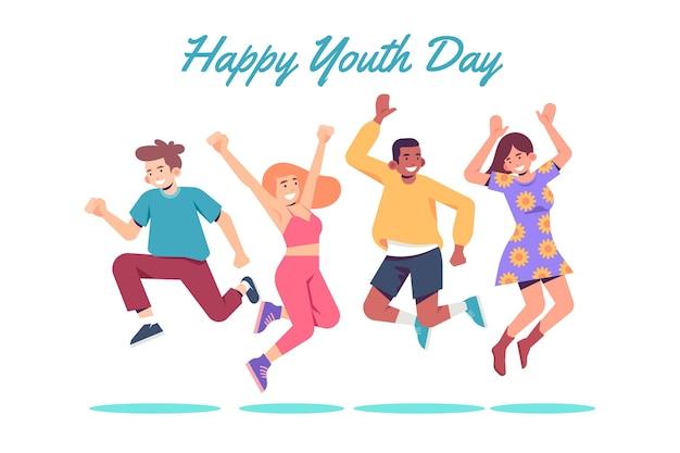 ジャンプする若者の日