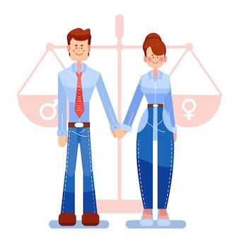 Дизайн иллюстрации гендерного равенства