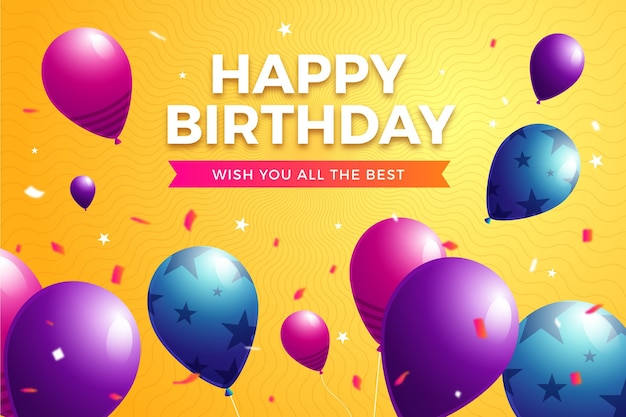 День рождения фон с воздушными шарами и конфетти
