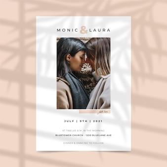 写真の結婚式の招待状のコンセプト