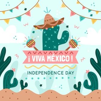 サボテンと花輪がある独立メキシコ
