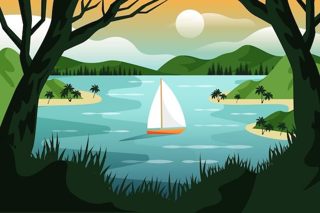 Летний пейзаж фон для увеличения с лодкой и озером