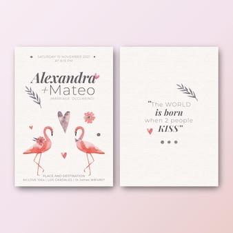 Шаблон свадебного приглашения с фламинго