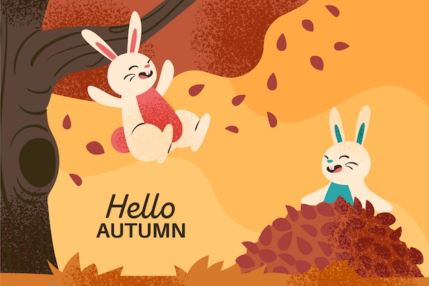 描かれた秋の壁紙