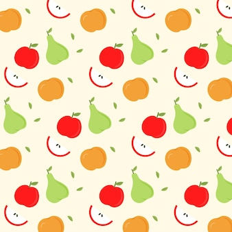 リンゴとナシのフルーツパターン