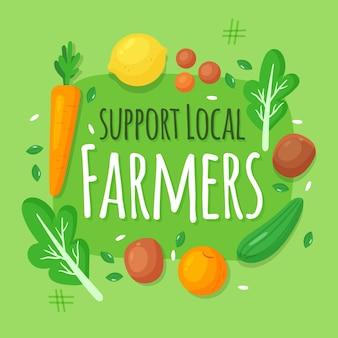 野菜で地元の農家のイラストをサポート