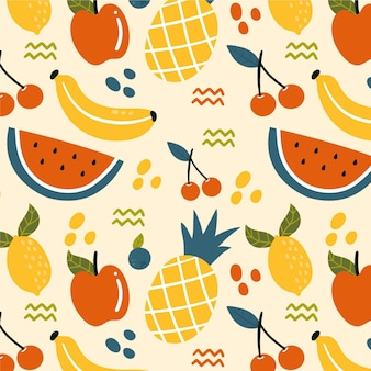 チェリーとフルーツパターン