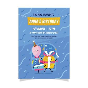 紙吹雪の子供の誕生日の招待状のテンプレート