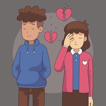 悲しいカップルとの離婚の概念