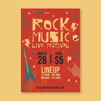 Иллюстрированный шаблон постера музыкального фестиваля