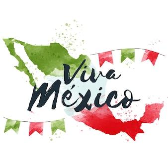水彩メキシコ独立記念日のテーマ