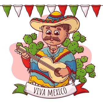 手描きのメキシコ独立記念日のテーマ