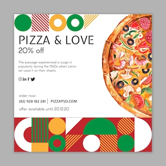 Пицца ресторан квадратный флаер