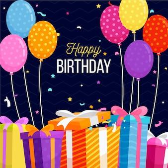 Плоский дизайн фона на день рождения