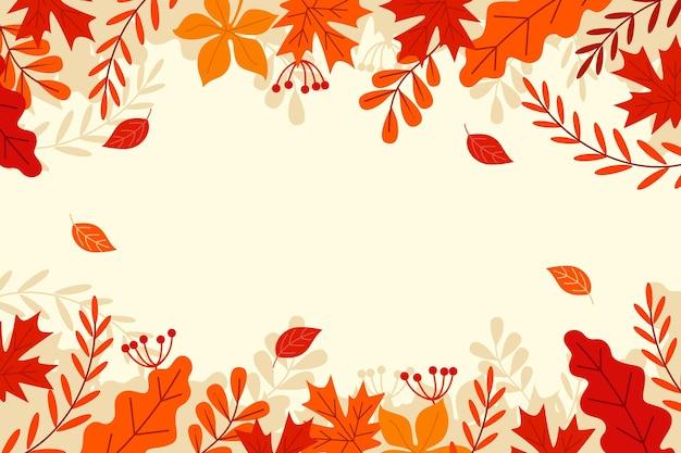 空のスペースでフラットなデザインの秋の背景