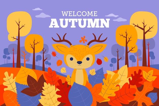 葉と鹿の秋の背景