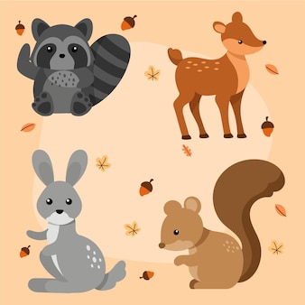 手描きの秋の森の動物パック