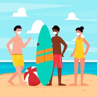 フェイスマスクを身に着けているビーチの人々