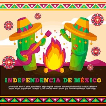 ギターを弾くメキシコのサボテンの国際デー