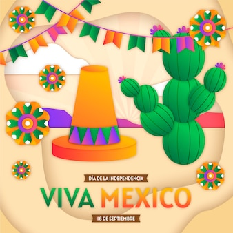 Кактус международный день мексики в бумажном стиле