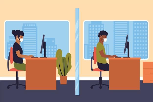Новый нормальный в офисе концепция