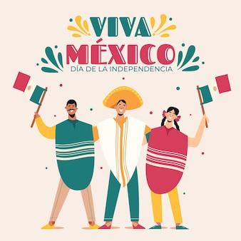 祝う人々とメキシコの独立