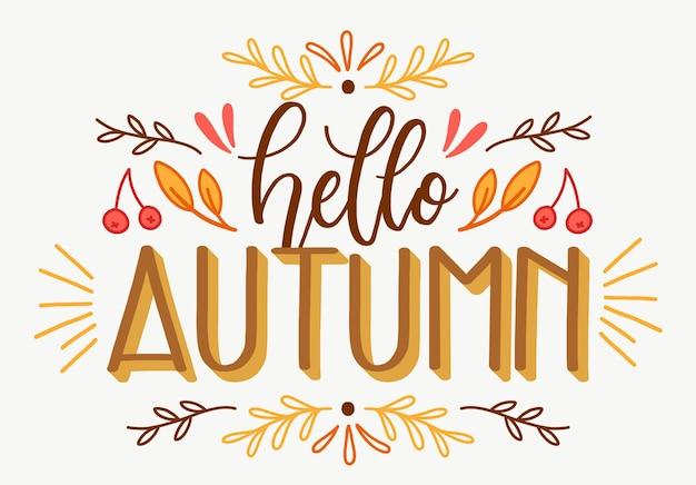 Привет осень - концепция надписи