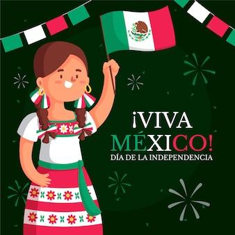 メキシコのフラットデザイン独立記念日