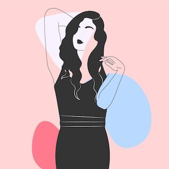 エレガントなラインアートスタイルの女性