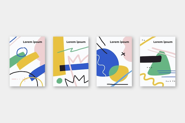 抽象的な手描きの形状カバーテンプレート