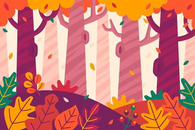 Осенний фон с деревьями и листьями