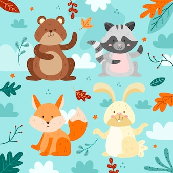 秋の森の動物のセット