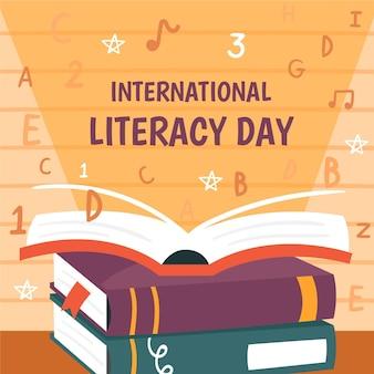 Международный день грамотности со стопкой книг