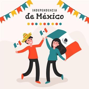 人と旗のあるメキシコ独立記念碑