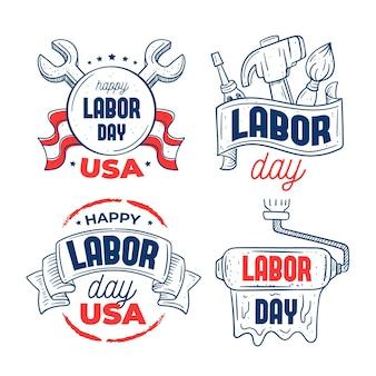 アメリカ労働日のラベルのセット