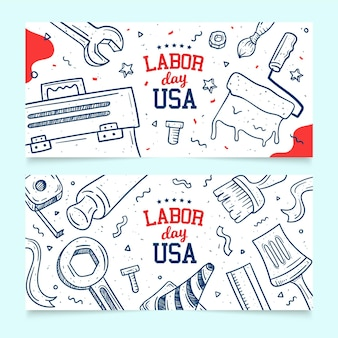 手描きアメリカ労働者の日