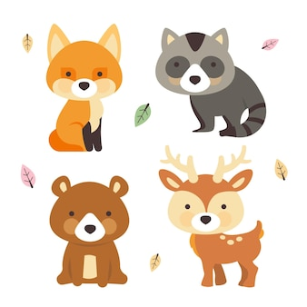 手描きの森の動物パック