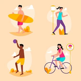Летние виды спорта иллюстрации концепции