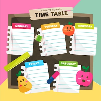Плоский дизайн обратно в школьное расписание