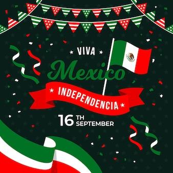 紙吹雪と旗のあるメキシコ独立