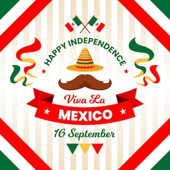 帽子と口ひげを持つメキシコの独立