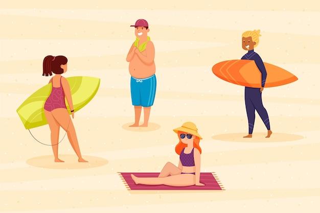 ビーチで休暇を楽しむ人々