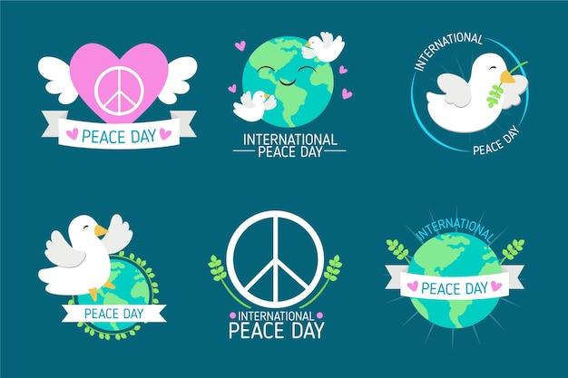 手描きの平和ラベルの国際デー