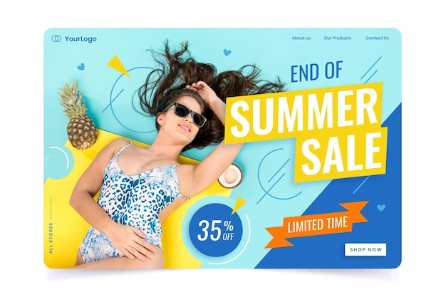 Конец летней распродажи, целевая страница с фото